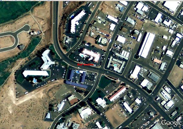 vue aérienne de notre hôtel de Page