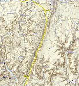 le trajet enregistré par Garmin le long de la Cottonwood road