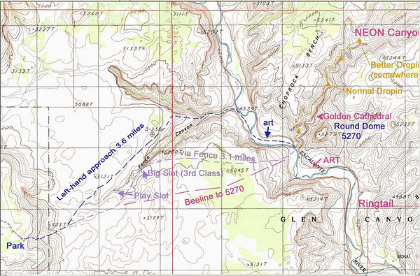 Notre approche prévue, c'est la Bee line, on craint les bébêtes dans Fence Canyon