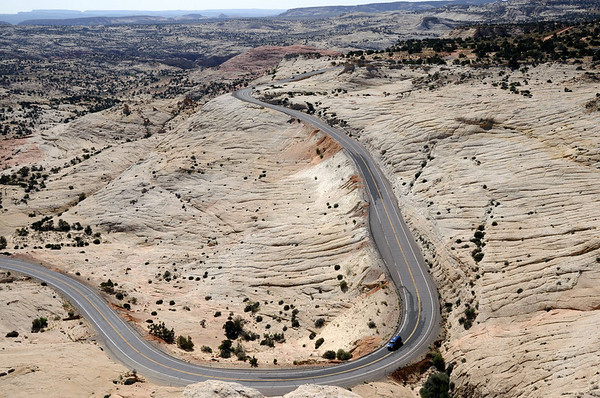 Between Escalante and Calf Creek is this wonderful section of road that crossed the slickrock. I just had to show it to you to entice you to be sure to include Hwy. 12 in your southern Utah vacation.