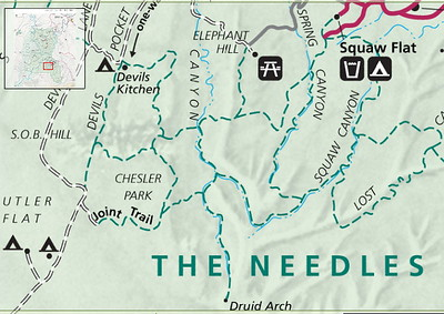 le plan de National Parks, départ prévu d'Elephant hill, puis descente plein sud (tout à pied, bien sur!)