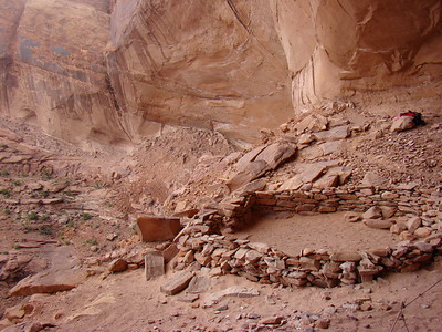 False Kiva is not easy to find, or to get to, and in the tradition of those before me, I'll share information about it if you contact me, but I won't publicly post any details other than GPS coordinates* (see below). This is a very special place that is not on any map, not even the park maps. It's that way for a reason...the National Park Service does not want a ton of people to visit it and destroy the site, and I can see why.  The hike, as I mentioned, is not easy. The cairns (piles of rocks used as a landmark or memorial marker) lead the way pretty well, but the terrain is unforgiving, steep and treacherous at times...but worth every step. Once we arrived at this giant alcove, I was overwhelmed by the spiritual feeling and the incredible vista in this secluded place.  *These are the GPS coordinates I took as I stood dead center in the Kiva circle. (N 38 25.0900 W 109 54.883) If you find it, please, take only photos and leave only footprints.