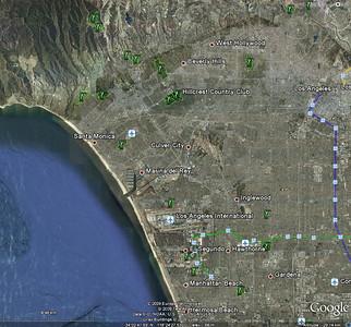 Après recherche sur Google Earth, nous survolons Beverly hills et le Hillcrest Country Club ( rien que ça!!!)