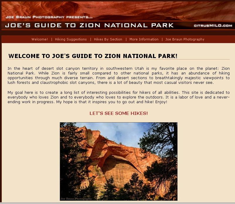 """<a href=""""http://www.citrusmilo.com/zionguide/"""">http://www.citrusmilo.com/zionguide/</a><br /> A cette adresse, des infos sympas sur Zion"""