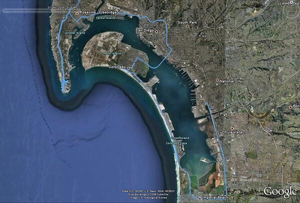 """Depuis l'hôtel, on va faire le tour de la lagune par le sud, puis """"grimper"""" jusqu'à Point Loma, avant de prendre la route plein est."""