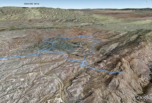 le trajet de la matinée, à droite la rando Au sud de Tucsona, nous découvrons le visitor center de Saguaro east. Pour l'instant, la journée commence bien
