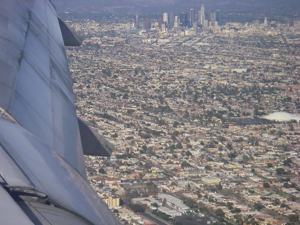 survol de Los Angeles avant aterrissage
