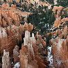 Rock spires, trees and snow, Inspiration Point, Bryce Canyon, Utah