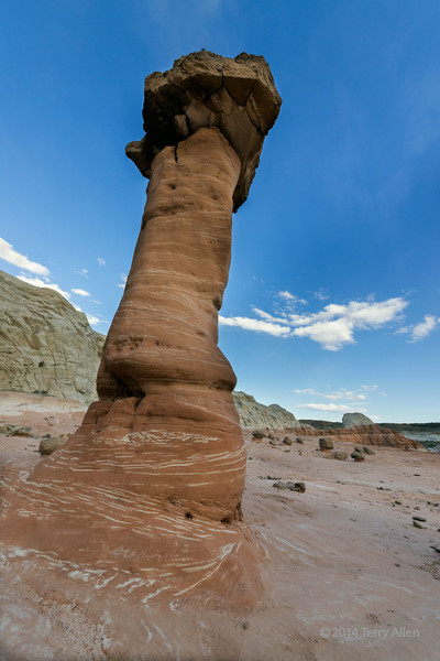 Leaning toadstool with striped base, Paria Rimrocks, Grand Staircase-Escalante National Monument, Utah