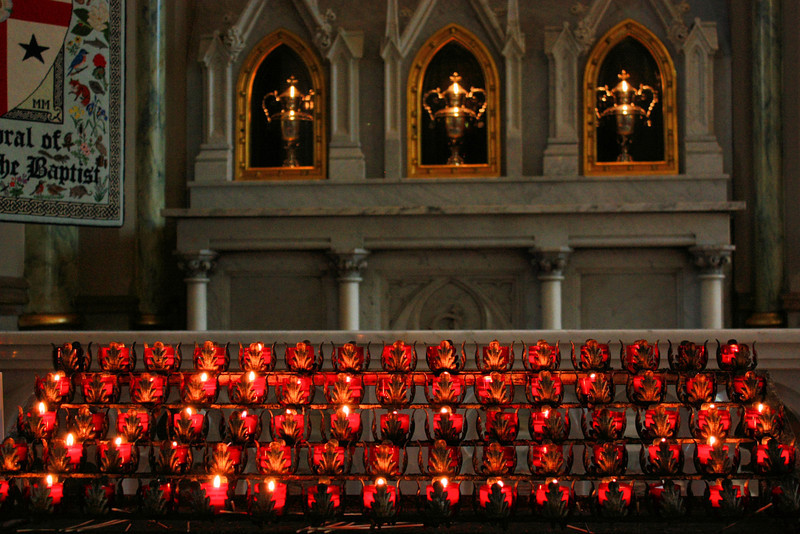 Candles are lit at the Cathedral of St. John the Baptist in historic downtown Savannah, GA.