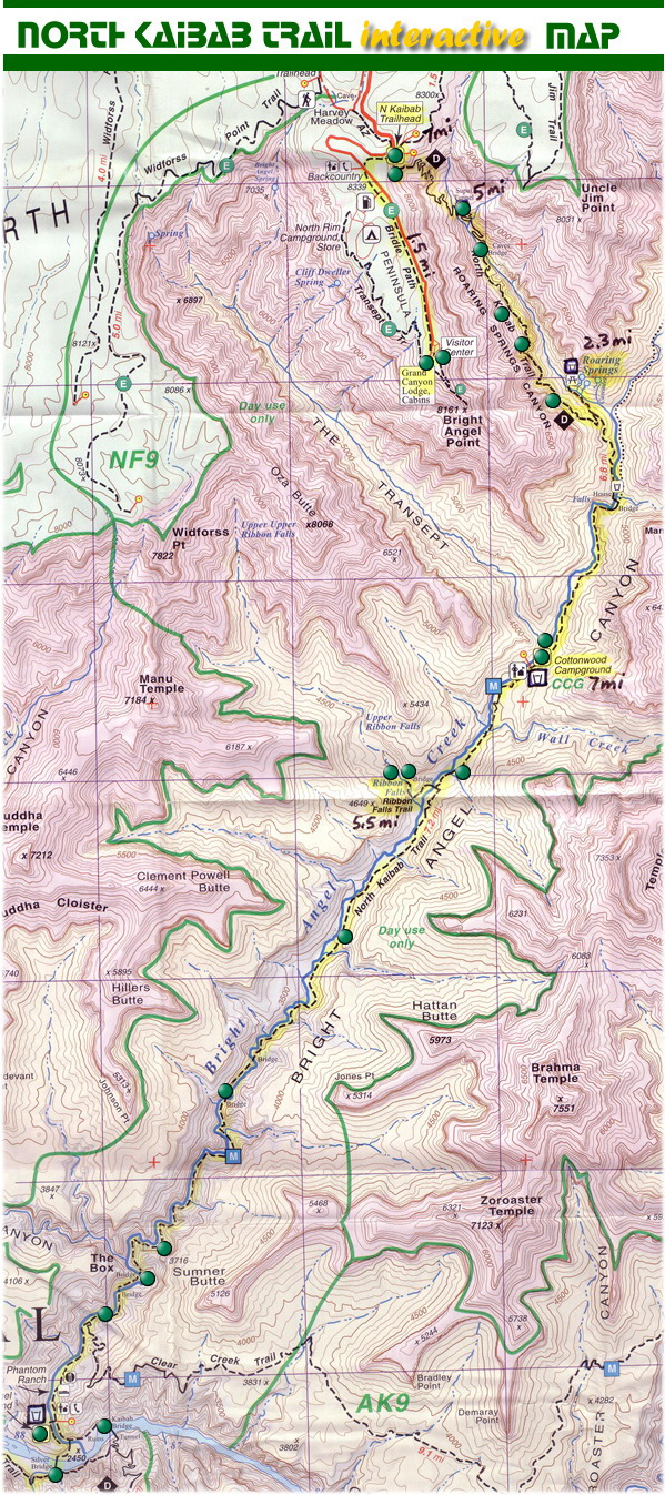 l'ensemble du North Kaibab trail, jusqu'au Colorado....On en a fait une TOUTE PETITE partie!