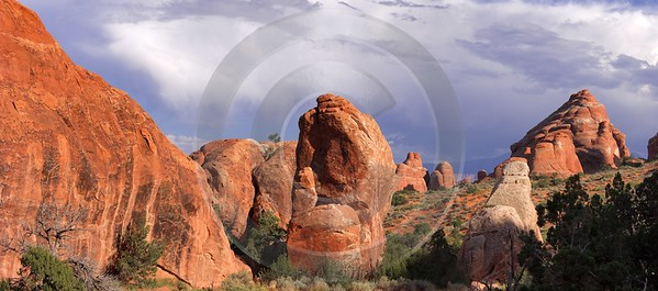 Moab Arches National Park Partition Arch Utah Red Ice Fog Fine Art Printing Stock Image - 007683 - 03-10-2010 - 8982x3973 Pixel