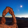 Dusk at the Delicate Arch in Arches National Park near Moab, Utah.