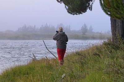 On se lève tôt, pour aller voir le lever de soleil sur la Madison River, et, normalement, voir des mooses. Rien du tout! un brouillard épais, et pas un animal!