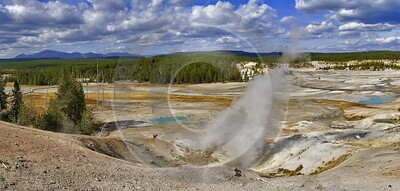 Yellowstone National Park Wyoming Norris Geyser Basin Hot View Point Country Road Fine Arts - 011825 - 30-09-2012 - 15210x7251 Pixel