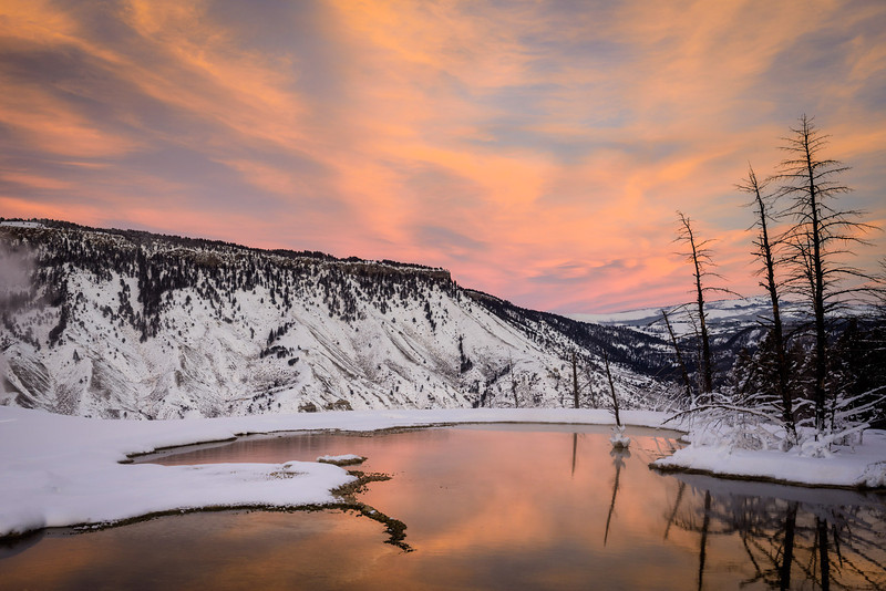 Sunset at Mammoth Hot Springs