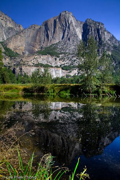 Reflections along Meced River.<br /> Yosemite valley, Yosemite National Park, California, USA.