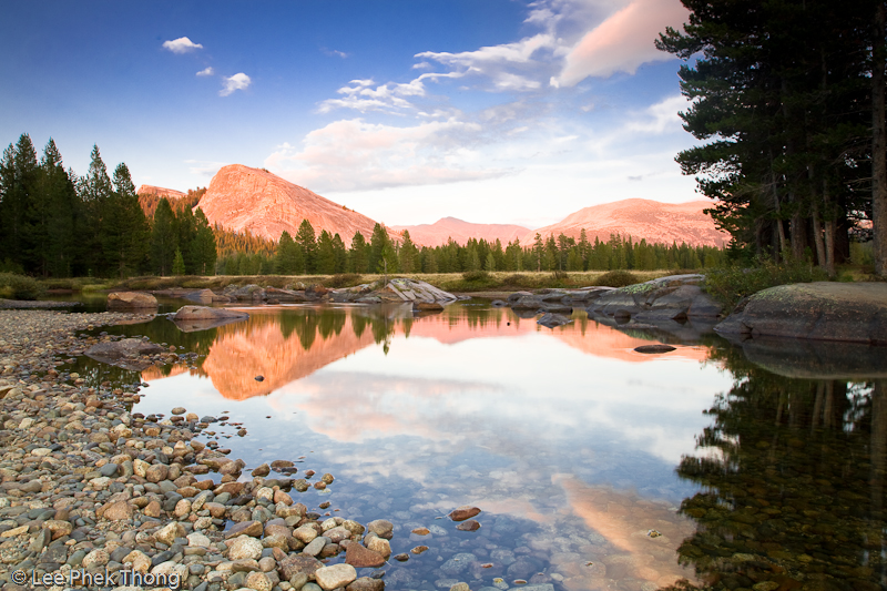 Sunset at Tuolumne Meadows, Lembert Dome.<br /> Tuolumne Meadows, Yosemite National Park, California, USA.