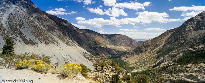Panoramic view from Tioga Pass towards Mono Lake.<br /> Tioga Pass, Yosemite National Park, California, USA.
