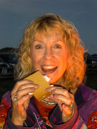 Linda with a s'more