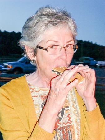 Joyce eating a s'more