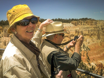 """Bryce NP: While the """"Rimmers"""" were doing a rim walk we experienced some strong gusty winds and there was concern about Dick's hat taking flight."""