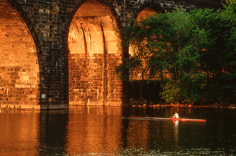 Scull on Schuylkill River at sunset, Philadelphia, Pennsylvania