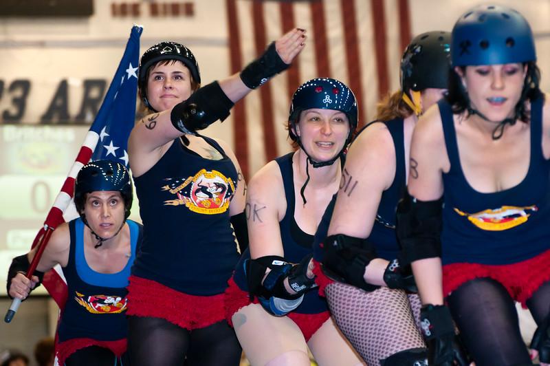 The Philly Roller Girls skate a team intro lap, Philadelphia, Pennsylvania