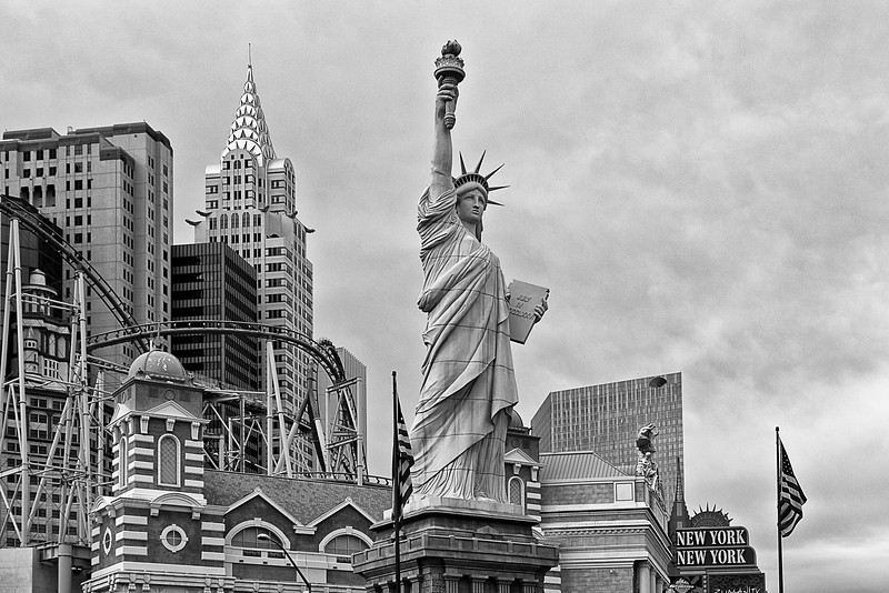Black and white view of New York part of Las Vegas