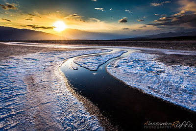 Sunset over the Badwater Basin (Death Valley)