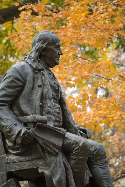 Statue of Benjamin Franklin on the campus of the University of Pennsylvania, Philadelphia, PA..