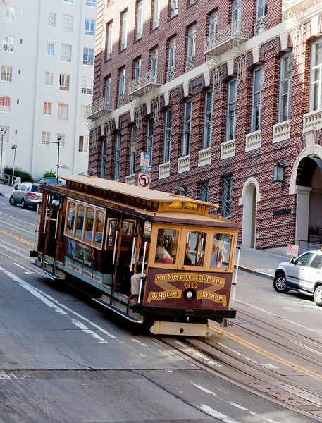 Tram in San Francisco on a steep hill