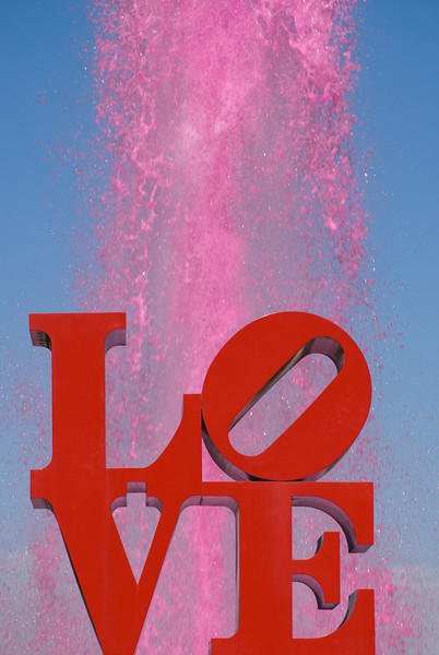 Love sculpture in Love Park (aka JFK Plaza), water dyed pink, Philadelphia, PA.