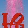 Love sculpture in Love Park (aka JFK Plaza), water dyed pink, Philadelphia, PA.
