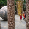 "Children walk through ""World Park"" sculpture, Philadelphia, Pennsylvania"