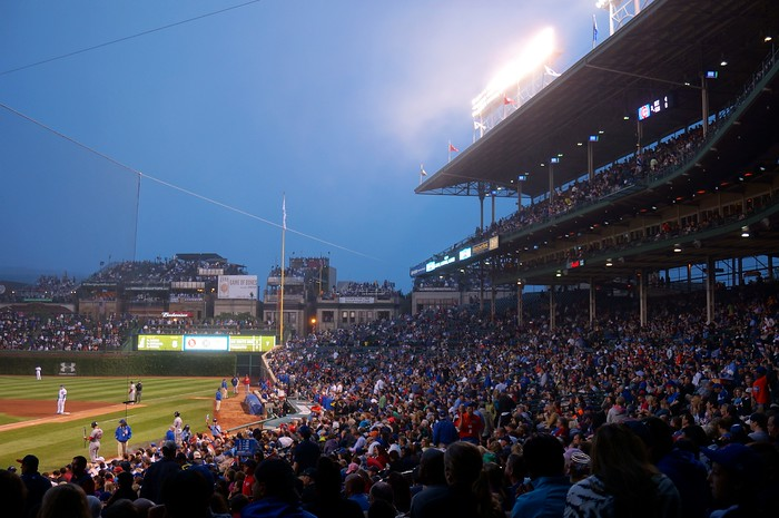 A Cubs game at Wrigley Field in Chicago.