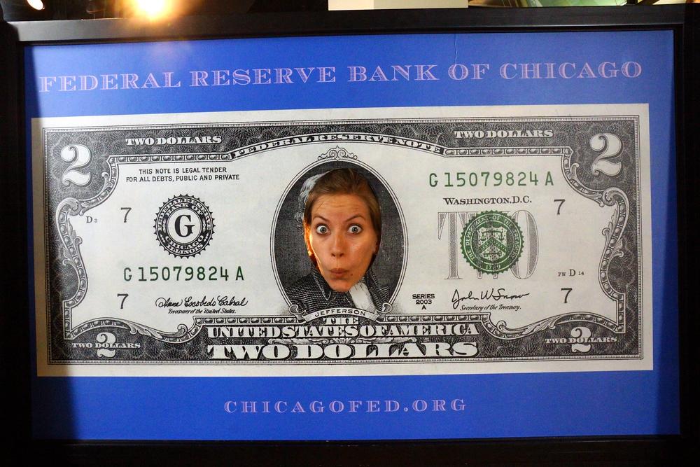 Audrey Berger That Backpacker as an American two dollar bill