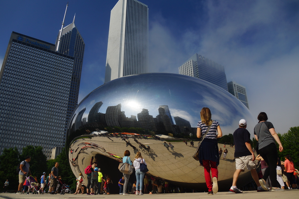 Reflection and photography from the Cloud Gate also known as the Bean