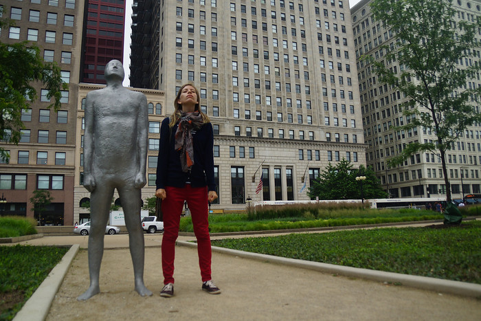 Posing with sculptures at a park by the Art Institute of Chicago.