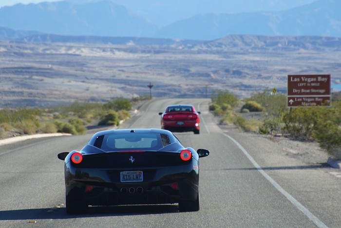 Driving luxury cars in Las Vegas to Lake Mead