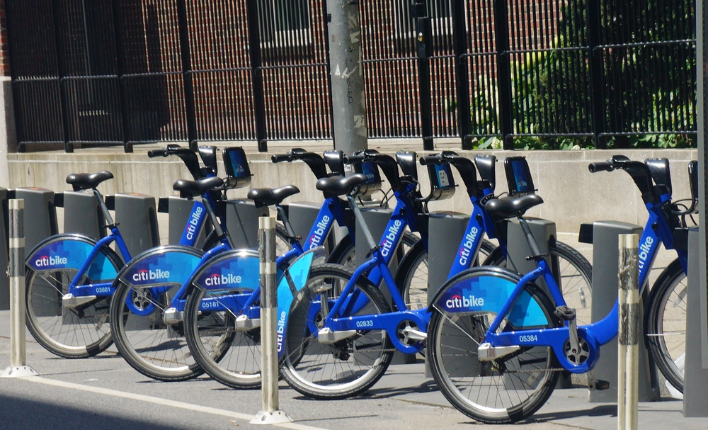 New York City Citi Bike rental bicycles parked at a station