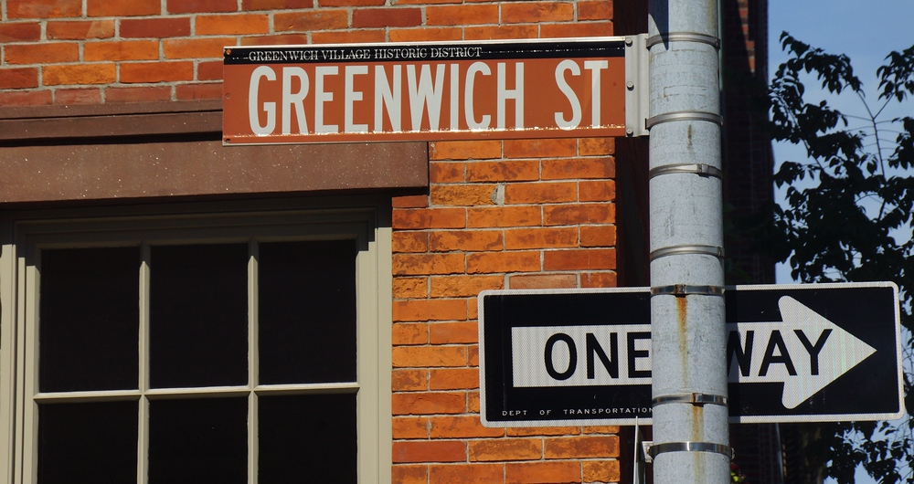 Greenwich Street Village Historic District Sign Post in New York City