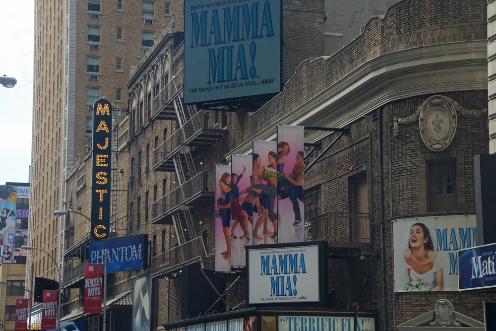 Mama Mia and Majestic Theatre on Broadway in New York City