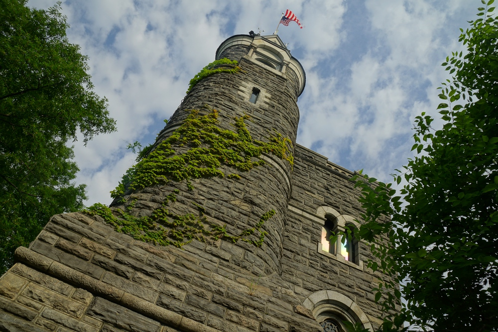 Ivy covered Belvedere Castle located in Central Park New York City