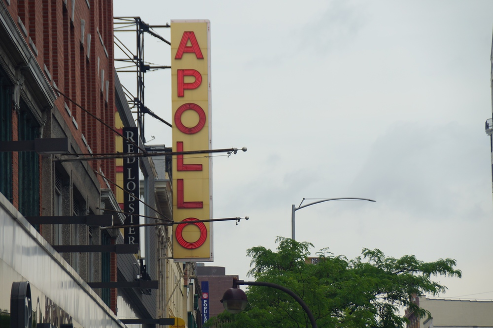 Apollo Theater signboard located in Harlem, Manhattan, New York City, USA