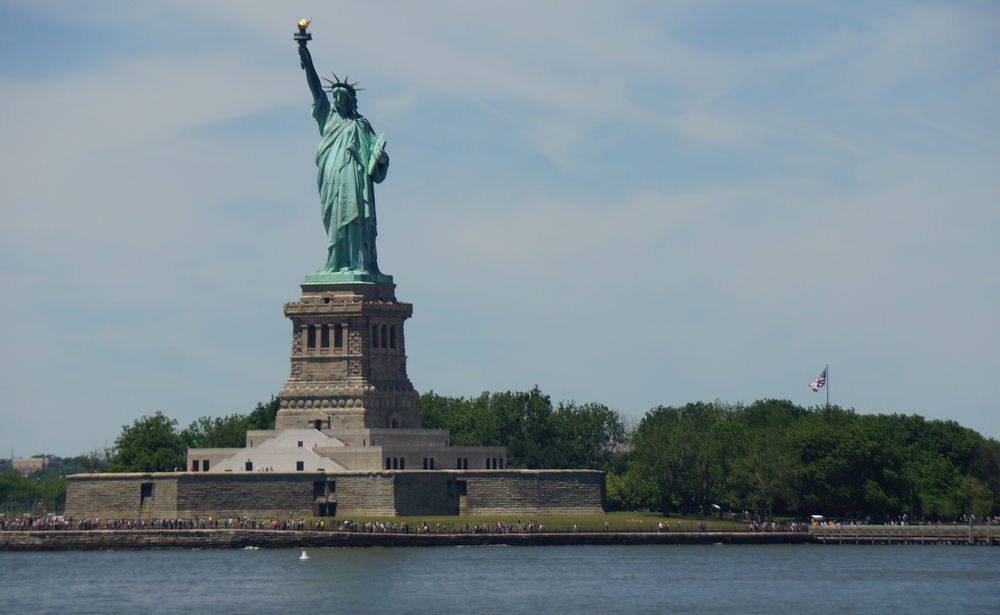 The Statue of Liberty as viewed from the Staten Island Ferry in New York City