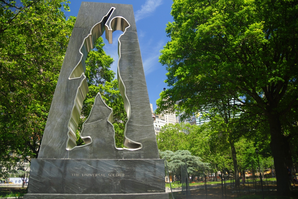 The Universal Soldier memorial statue located in Battery Park New York City