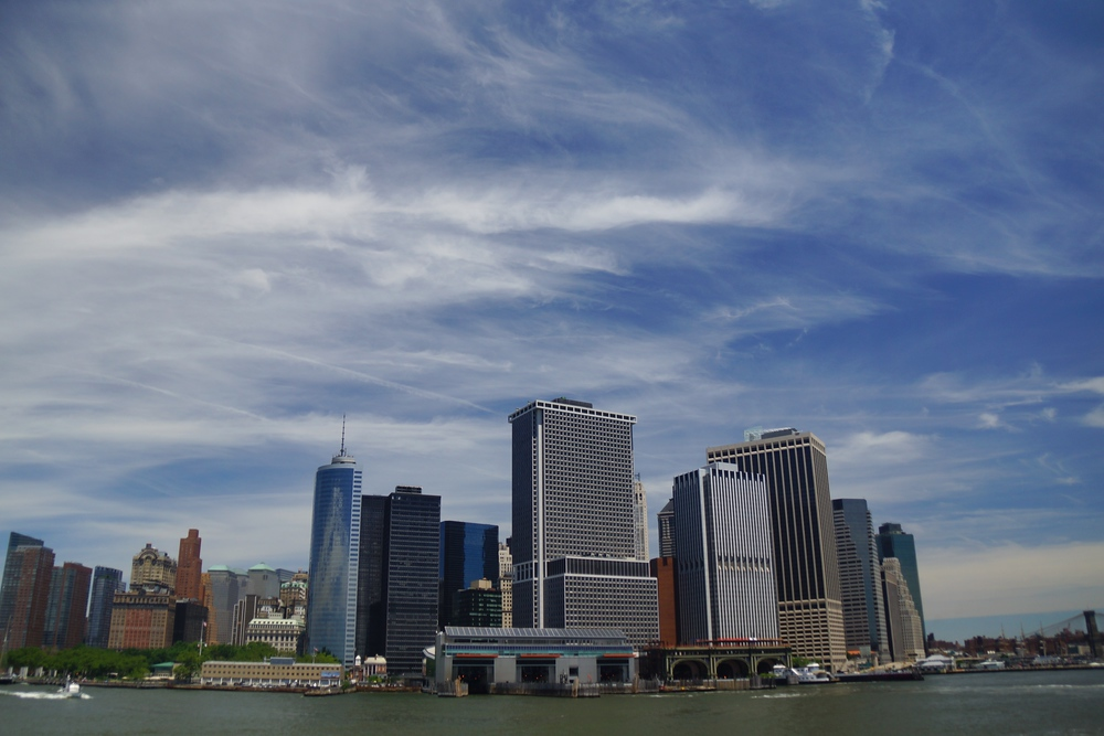 Views of downtown Manhattan Island from the Staten Island Ferry in New York City