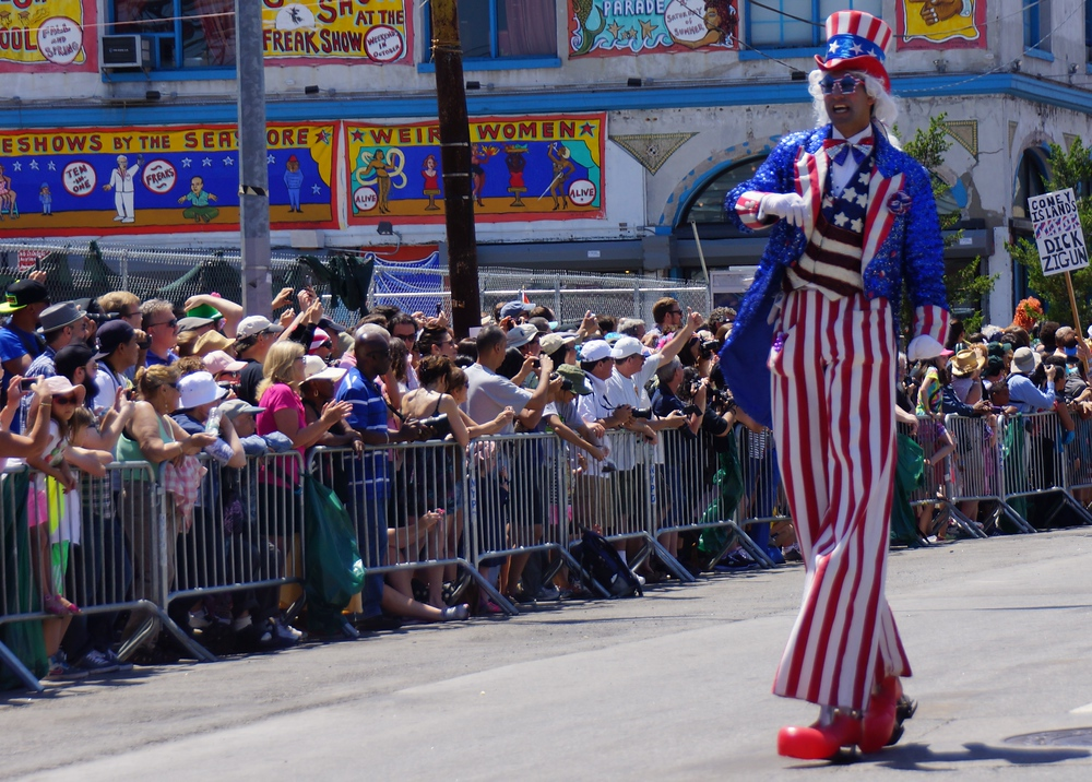 Uncle Sam on stilts walking during the Mermaid Parade on Coney Island New York City