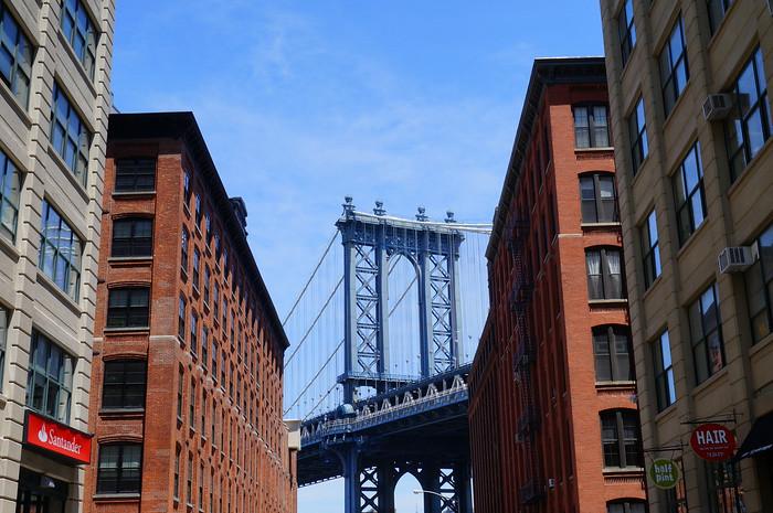 The Manhattan Bridge as seen from DUMBO - Down Under the Manhattan Bridge Overpass.